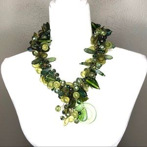 Vintage chunky necklace, statement necklace, green